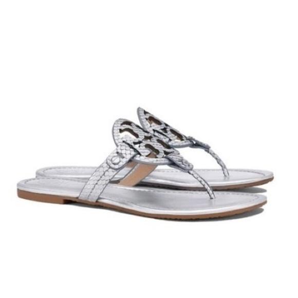 b807e1dcd903 Tory Burch Miller silver snakeskin thong sandals. M 5aca565e3afbbd34f81fb1b8